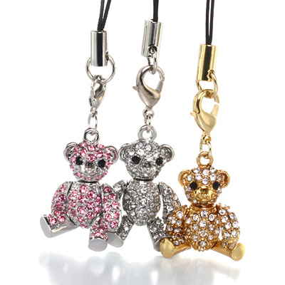 3 colors set Crystal Lovely Bear strap