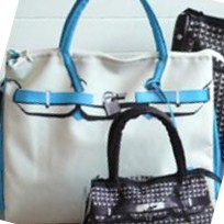 T.A.T.A. BABY Photo Print Bag (L) White/Sax (In Stock)
