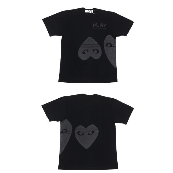 CDG black 2 hearts tee